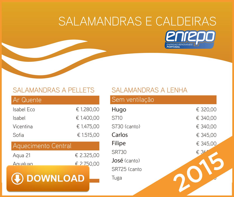 Tabela Preços Salamandras  2015.